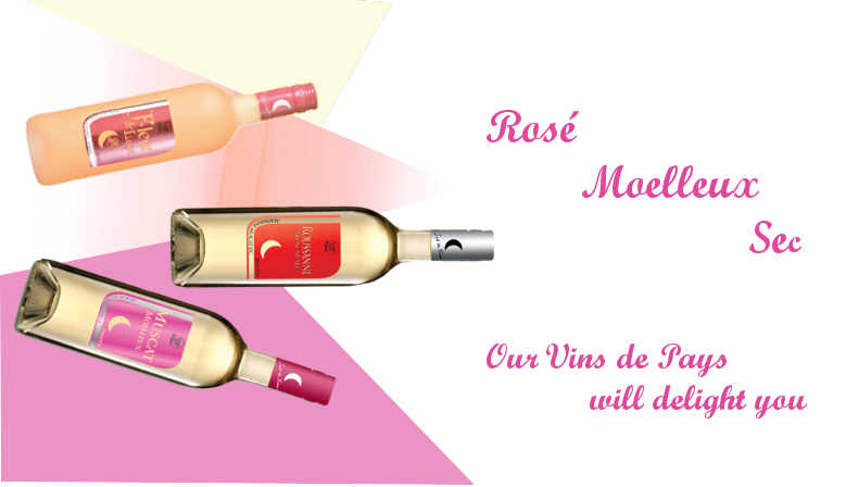 Rosé Moelleux Sec, our Vins de Pays will delight you
